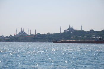 View from the Bosporus of Sultanahmet Mosque and Haghia Sophia.